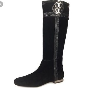 Tory Burch Knee Boots Suede Black Size 9